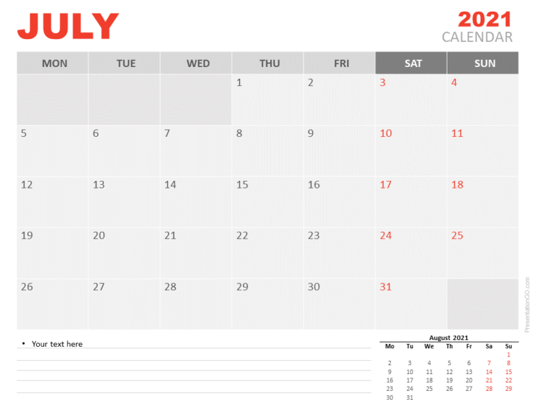 Free Calendar 2021 July for PowerPoint
