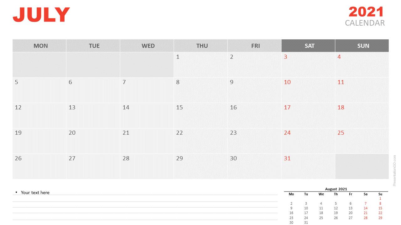 Free Calendar 2021 July for PowerPoint and Google Slides