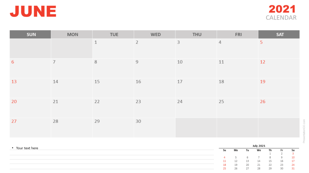 Free Calendar 2021 June Planning for PowerPoint and Google Slides