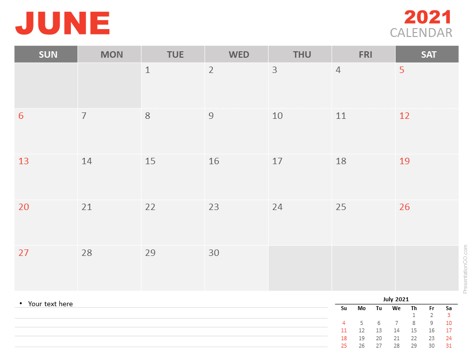 Free Calendar 2021 June Planning for PowerPoint