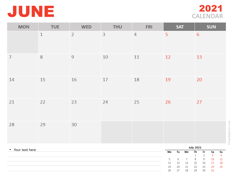 Free Calendar 2021 June for PowerPoint