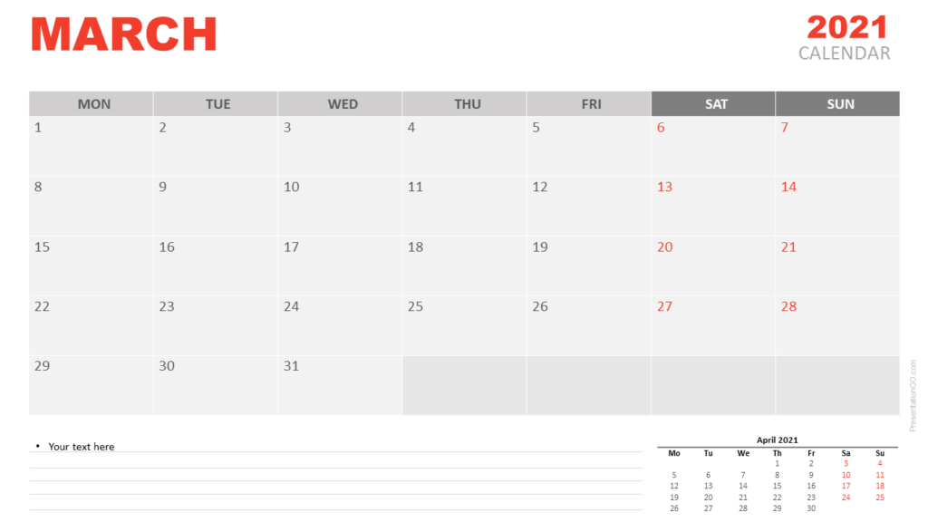 Free Calendar 2021 March for PowerPoint and Google Slides