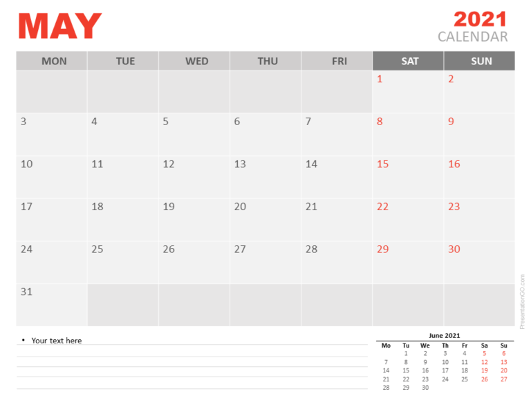 Free Calendar 2021 May for PowerPoint