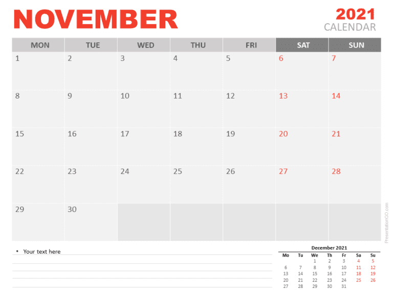 Free Calendar 2021 November for PowerPoint