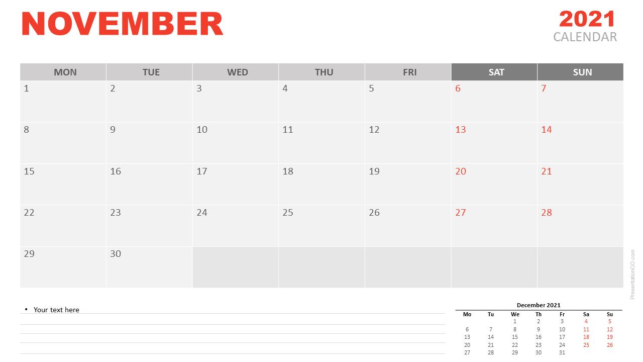 Free Calendar 2021 November for PowerPoint and Google Slides