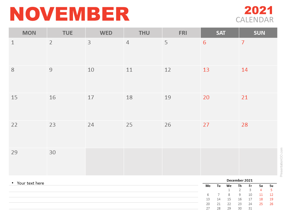 Free Calendar 2021 November for PowerPoint