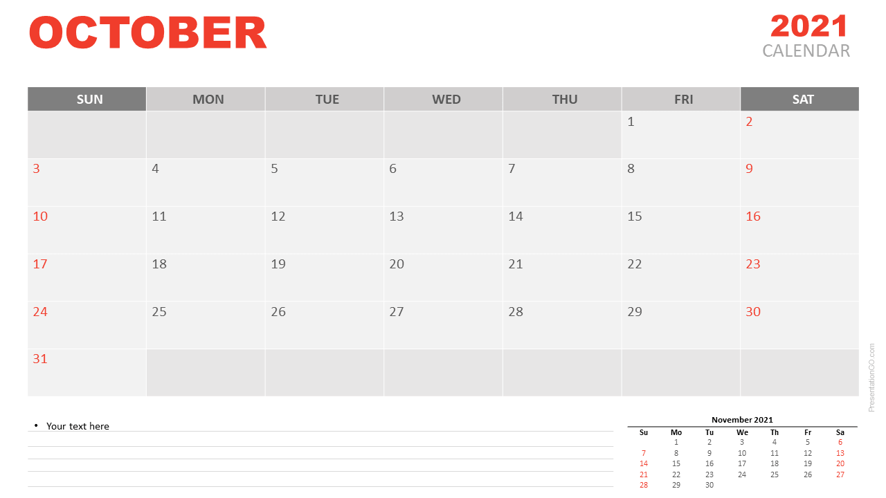 Free Calendar 2021 October Planning for PowerPoint and Google Slides