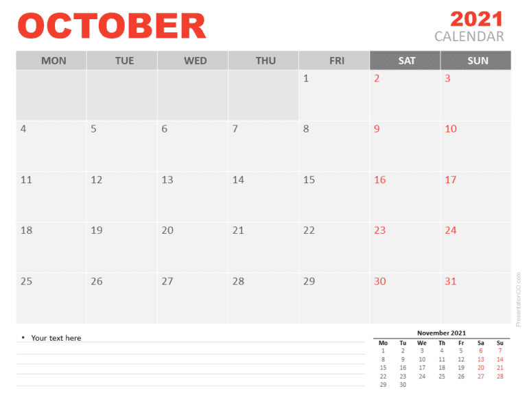 Free Calendar 2021 October for PowerPoint