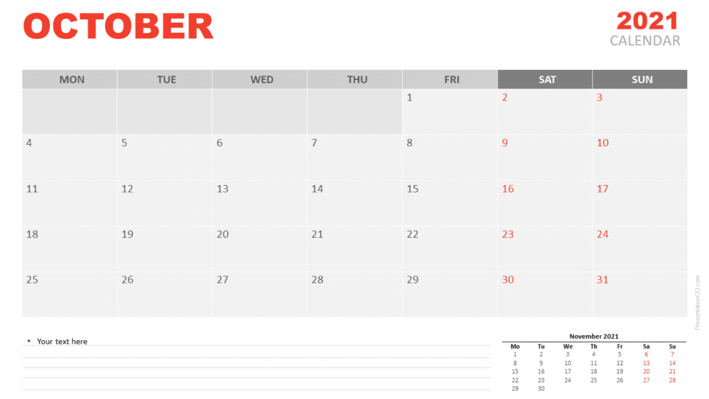 Free Calendar 2021 October for PowerPoint and Google Slides