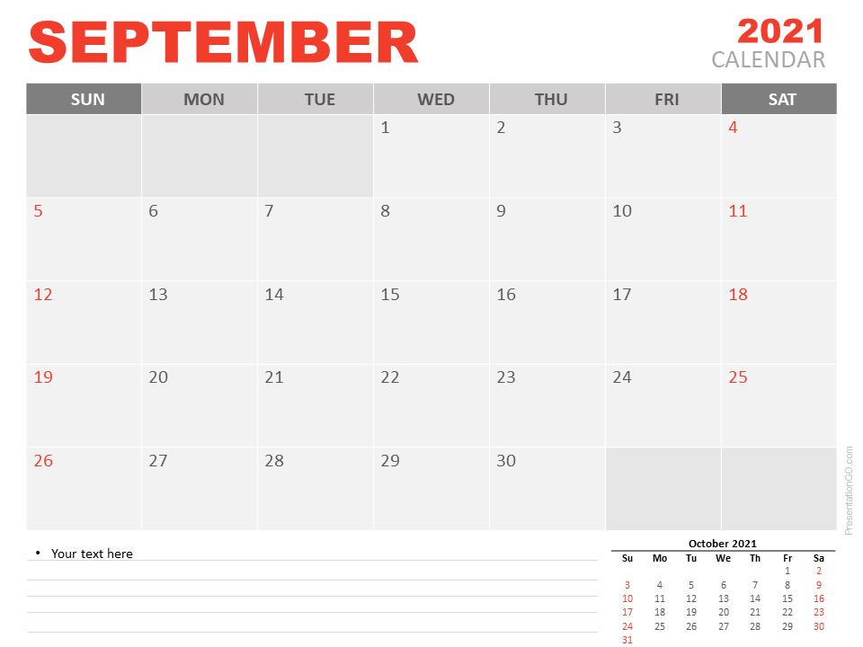 Free Calendar 2021 September Planning for PowerPoint