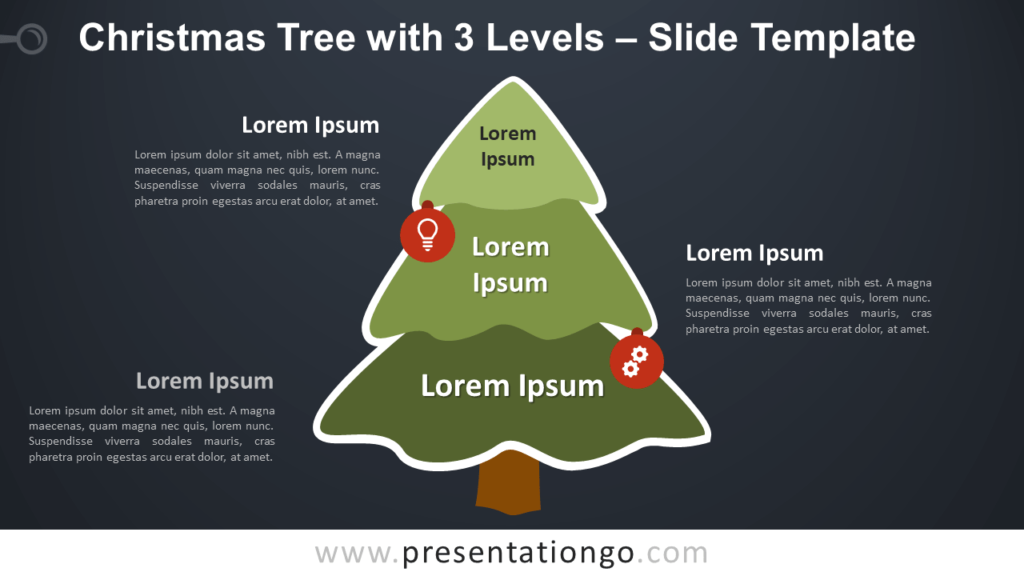 Free Christmas Tree with 3 Levels Diagram for PowerPoint Google Slides