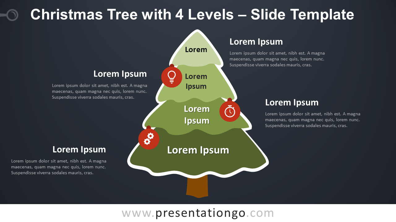 Free Christmas Tree with 4 Levels Diagram for PowerPoint Google Slides