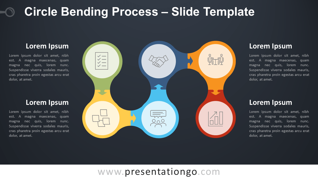 Free Circle Bending Process Diagram for PowerPoint and Google Slides