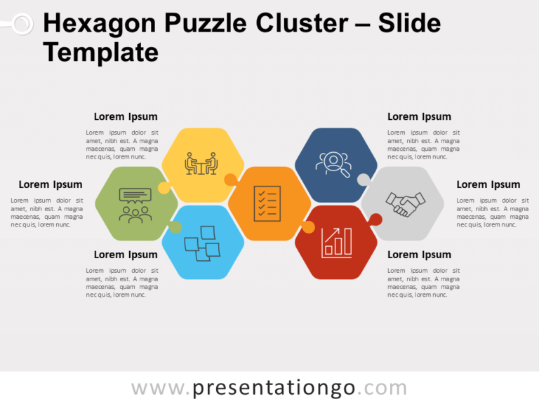 Free Hexagon Puzzle Cluster for PowerPoint