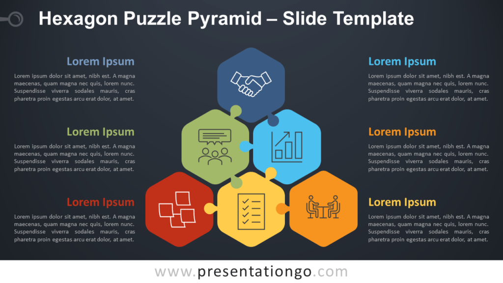 Free Hexagon Puzzle Pyramid Diagram for PowerPoint and Google Slides