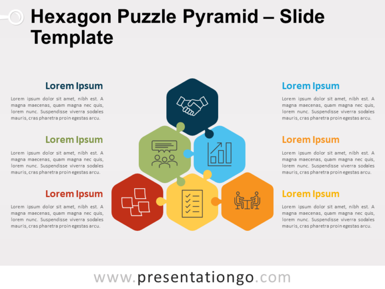 Free Hexagon Puzzle Pyramid for PowerPoint