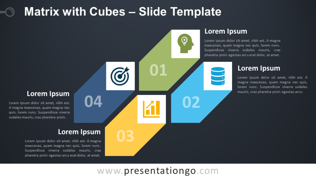 Free Matrix with Cubes Diagram for PowerPoint and Google Slides