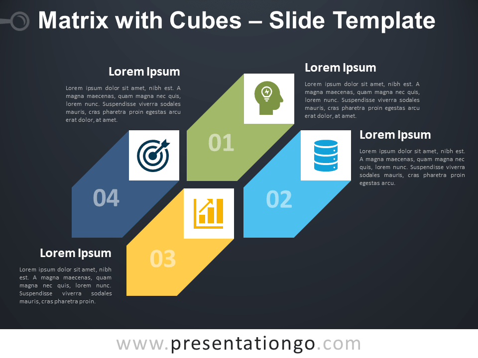 Free Matrix with Cubes Diagram for PowerPoint