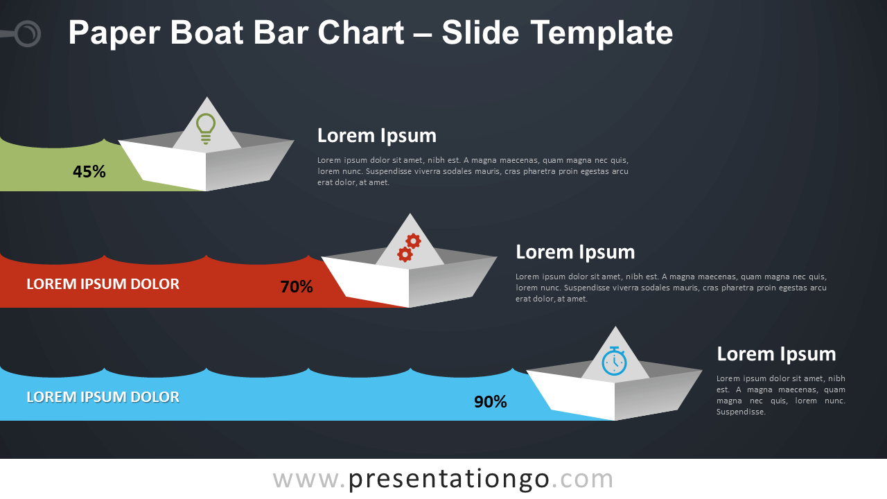 Free Paper Boat Bar Chart Infographic for PowerPoint and Google Slides