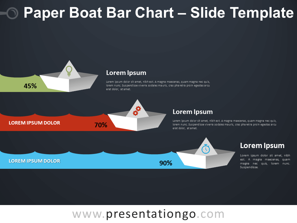 Free Paper Boat Bar Chart Infographic for PowerPoint