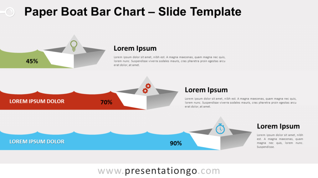 Free Paper Boat Bar Chart for PowerPoint and Google Slides