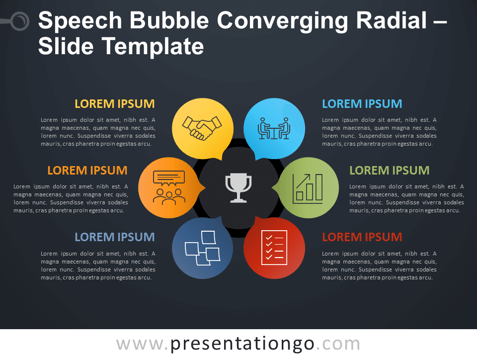 Free Speech Bubble Converging Radial Diagram for PowerPoint