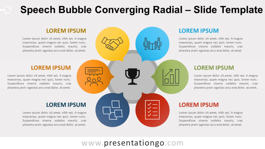 Free Speech Bubble Converging Radial for PowerPoint Google Slides