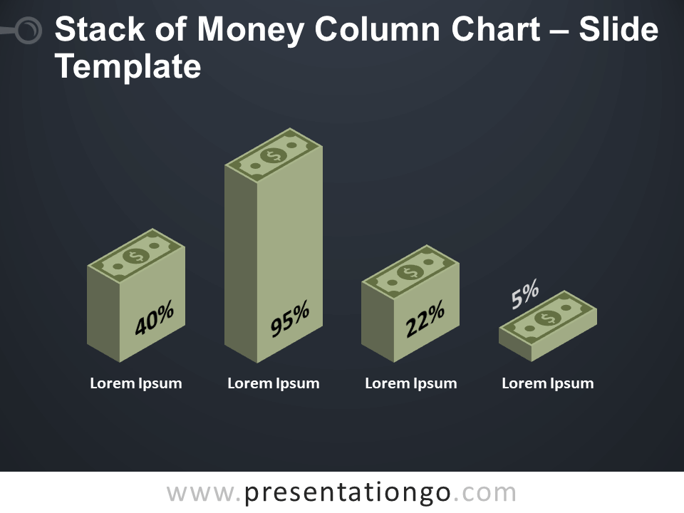 Free Stack Money Column Chart Diagram for PowerPoint
