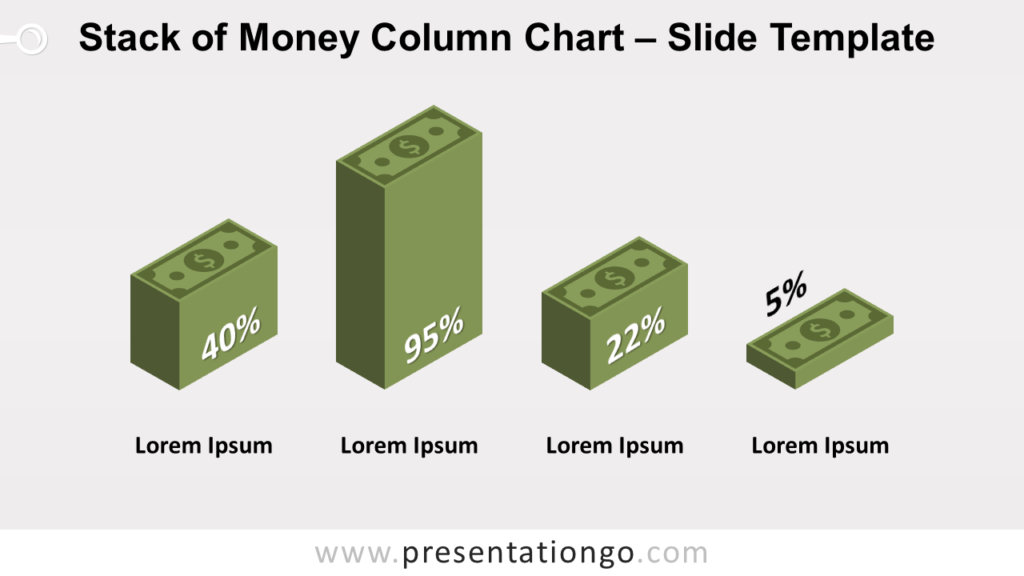 Free Stack Money Column Chart for PowerPoint and Google Slides