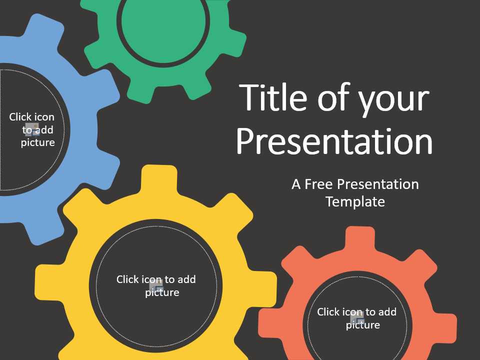 Free Gears Template for Google Slides - Cover Slide