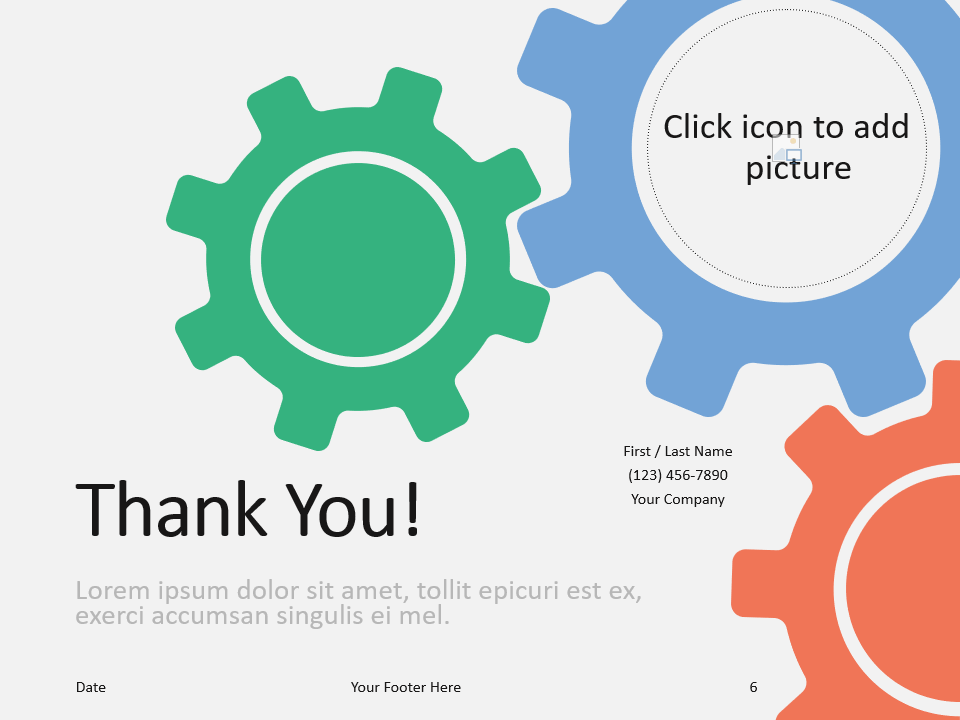 Free Gears Template for PowerPoint - Closing / Thank you