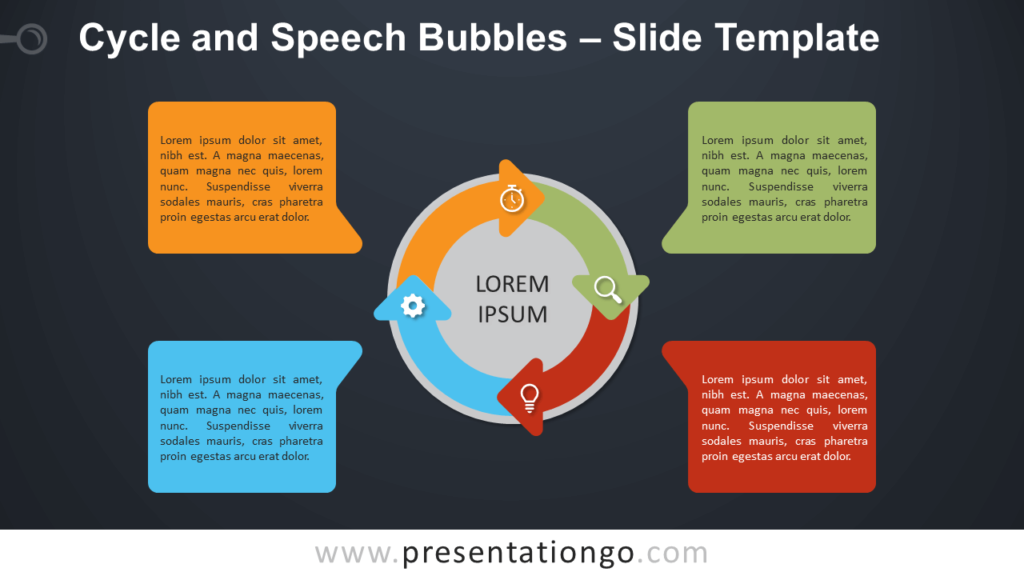 Free Cycle Speech Bubbles Diagram for PowerPoint and Google Slides