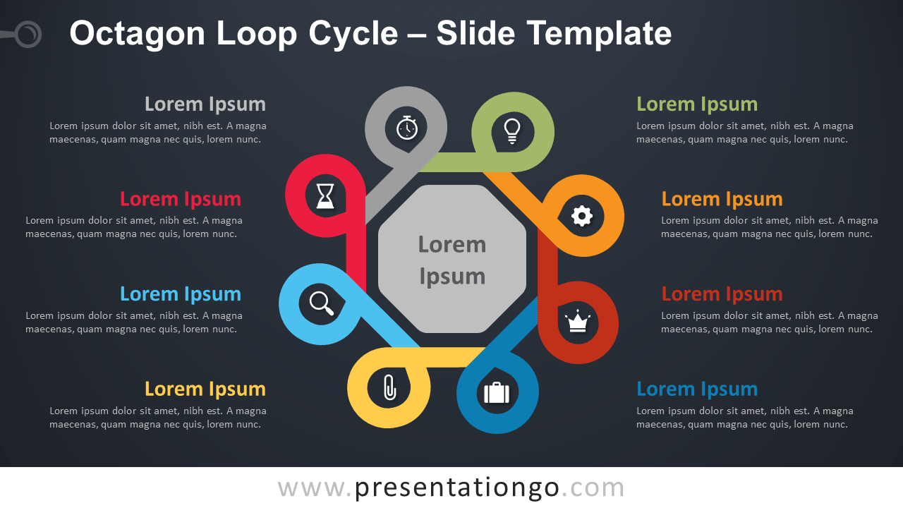 Free Octagon Loop Cycle Diagram for PowerPoint and Google Slides
