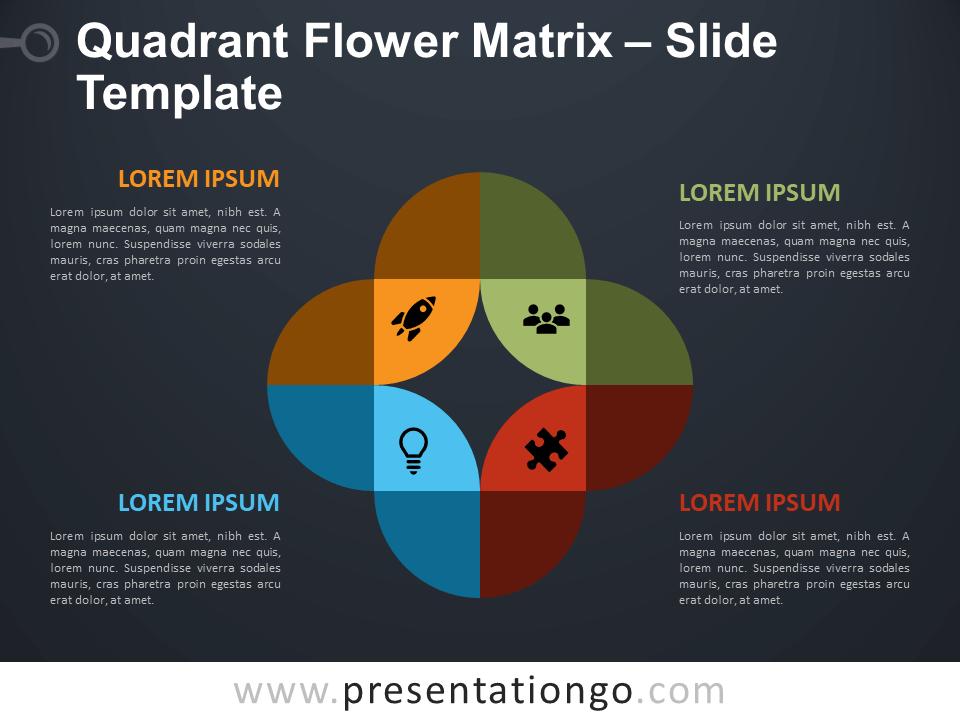 Free Quadrant Flower Matrix Diagram for PowerPoint