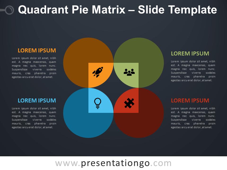 Free Quadrant Pie Matrix Diagram for PowerPoint