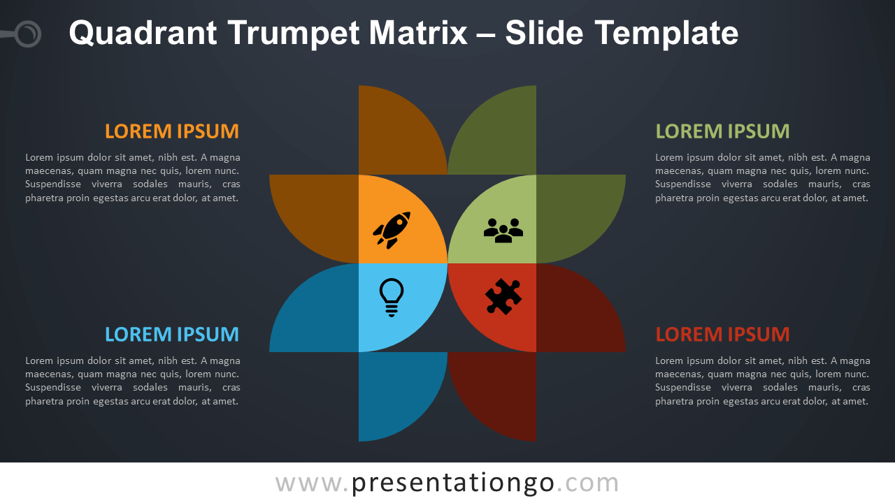 Free Quadrant Trumpet Matrix Diagram for PowerPoint and Google Slides