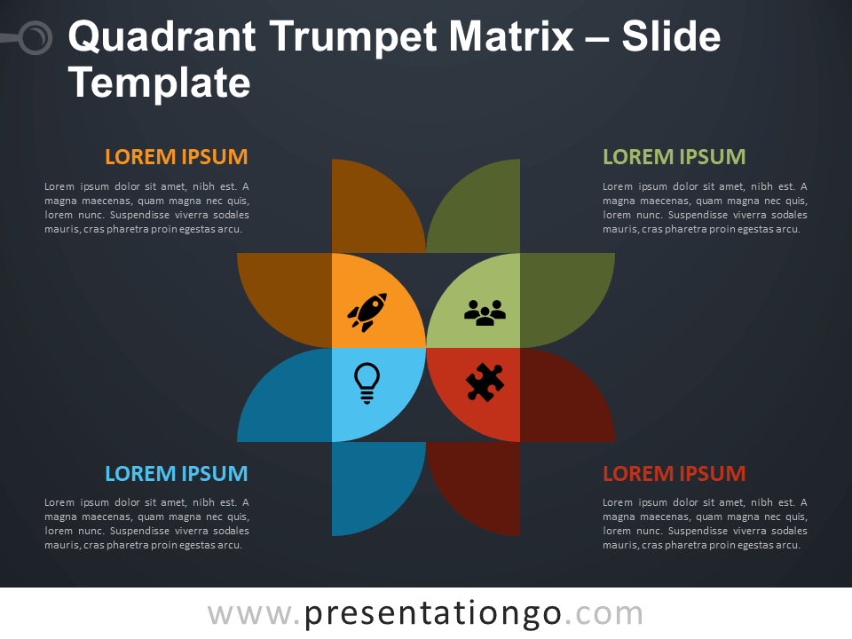 Free Quadrant Trumpet Matrix Diagram for PowerPoint