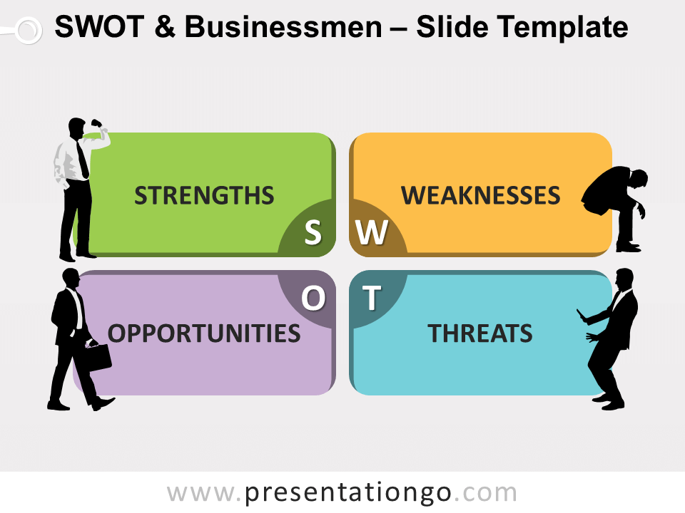 Free SWOT Businessmen Diagram for PowerPoint