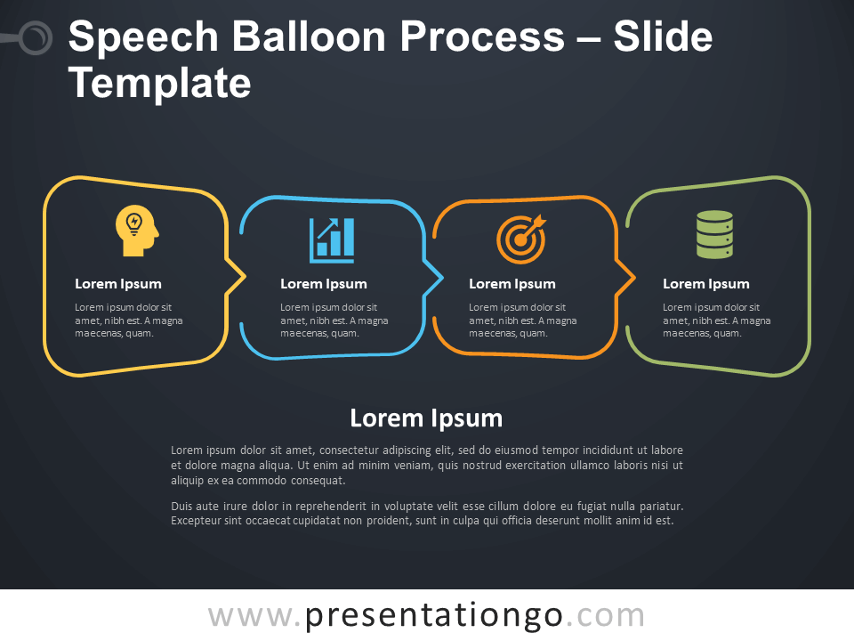 Free Speech Balloon Process Infographic for PowerPoint