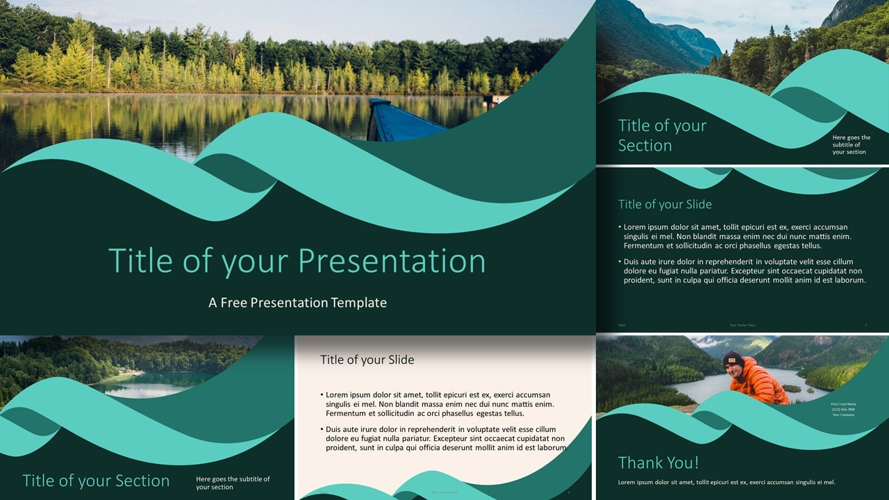 Free Turquoise Swirl Template for Google Slides and PowerPoint