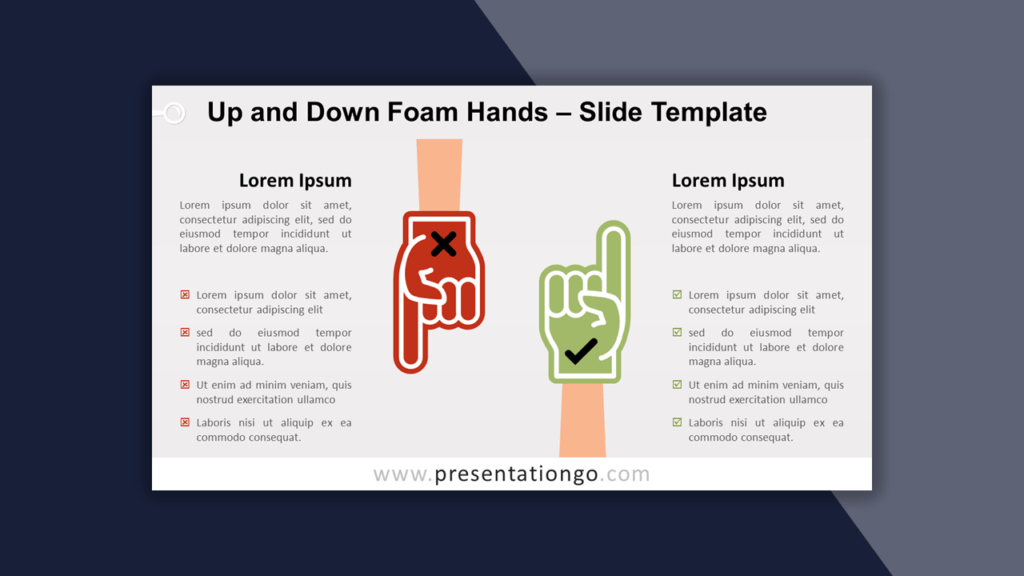 Up and Down Foam Hands Template for PowerPoint