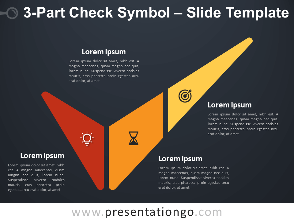Free 3-Part Check Symbol Infographic for PowerPoint
