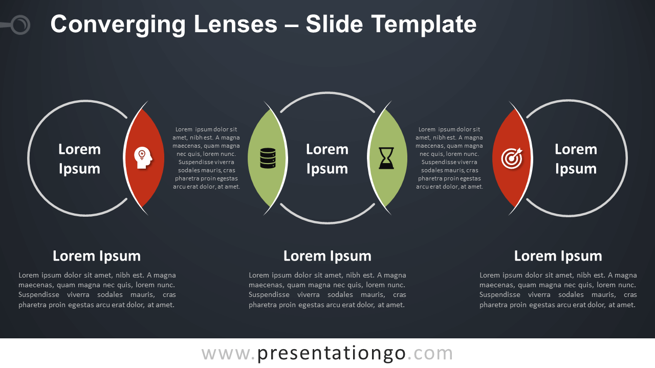 Free Converging Lenses Diagram for PowerPoint and Google Slides
