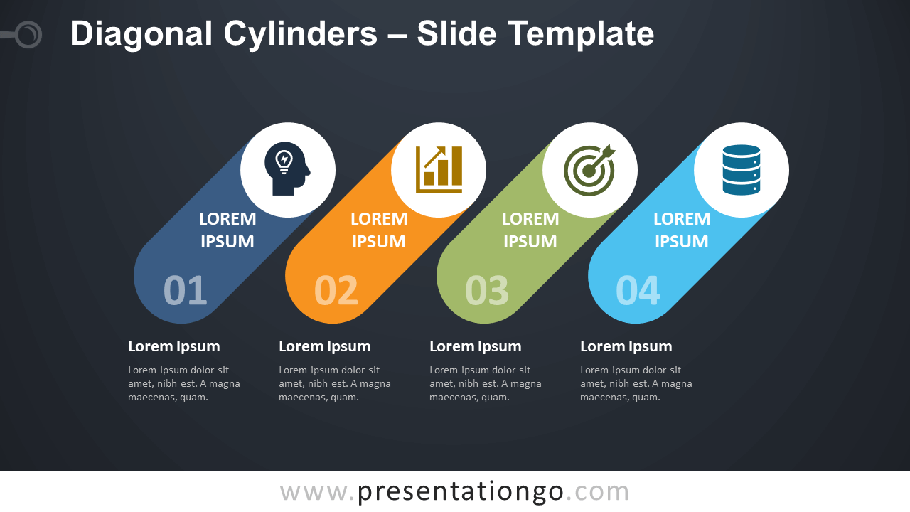Free Diagonal Cylinders Diagram for PowerPoint and Google Slides