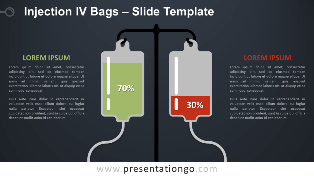 Free Injection IV Bags Infographics for PowerPoint and Google Slides