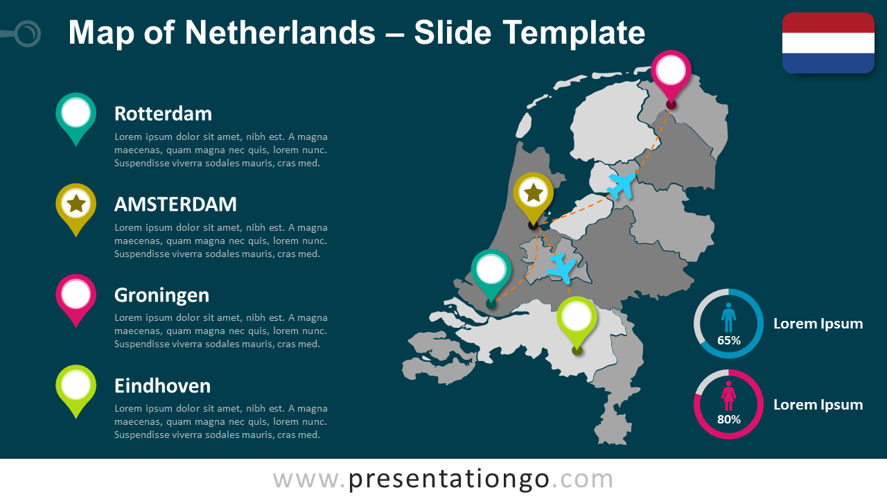 Free Map of Netherlands for PowerPoint and Google Slides