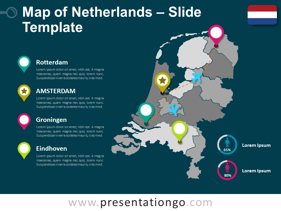 Free Map of Netherlands for PowerPoint