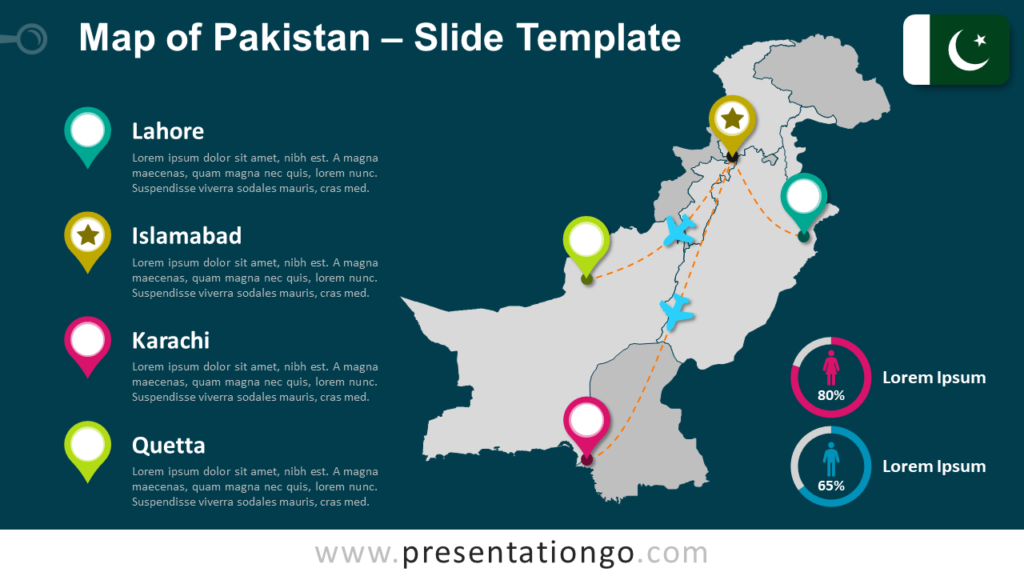 Free Map of Pakistan for PowerPoint and Google Slides