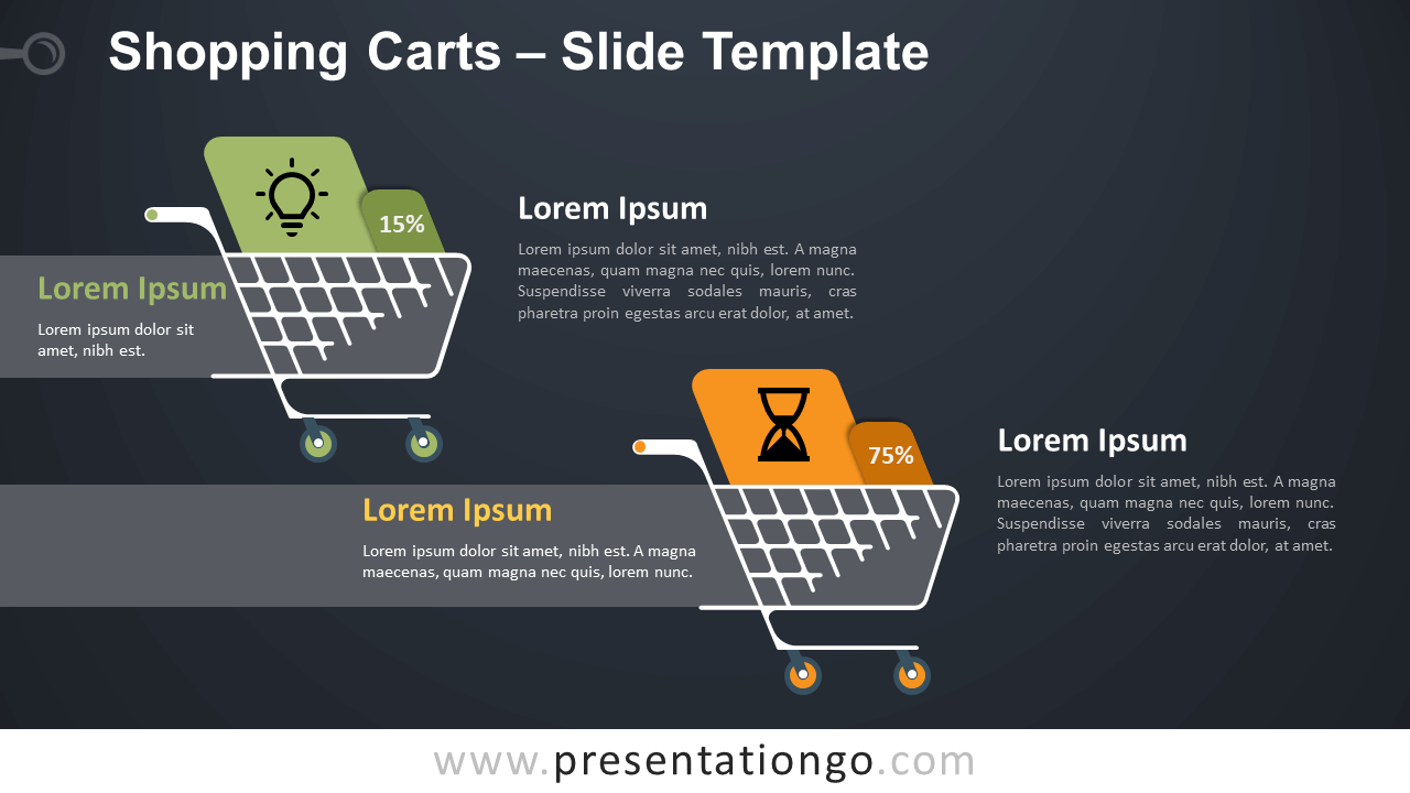 Free Shopping Carts Infographics for PowerPoint and Google Slides