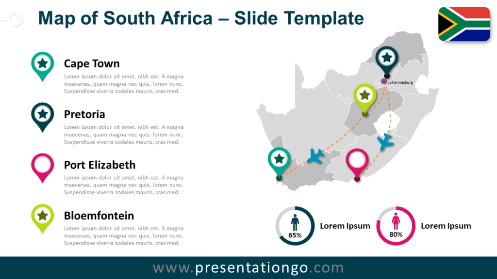 Free Map of South Africa for PowerPoint and Google Slides
